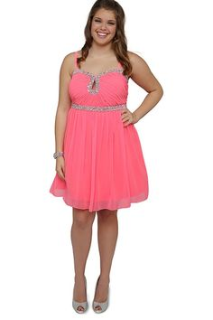 77830b336fd Plus Size Short Prom Dress With Stone Accents And Keyhole Cutout  Sweetheart. Homecoming ...