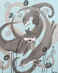 Dance of the Otters Original Folk Art by ConsciousArtStudios