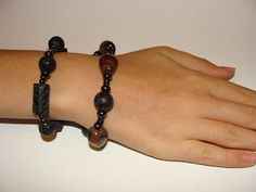 foto hand made jewels  Φωτεινή Μάμαλη: Βραχιόλια με λάβες και αχάτες!! Bracelets, Leather, Jewelry, Fashion, Moda, Jewlery, Jewerly, Fashion Styles, Schmuck