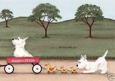 West Highland Terriers Westies Fill Wagon Lynch Signed Folk Art Print | eBay