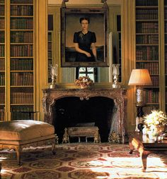 Red & cream needlepoint rug in the library of the Paris residence of the Duke & Duchess of Windsor.
