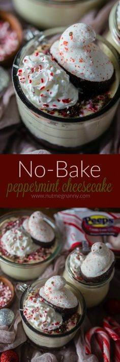 This no bake peppermint cheesecake is perfect for the holidays. Light and fluffy and topped with whipped cream, crushed peppermint candies and PEEPS. Peppermint Cheesecake, Peppermint Candy, No Bake Desserts, Easy Desserts, Dessert Recipes, Cheese Fruit, Fun Easy Recipes, Christmas Recipes, Christmas Foods