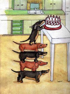 Dachshunds + birthday cake = sticky, sugared up dachshunds! ♥