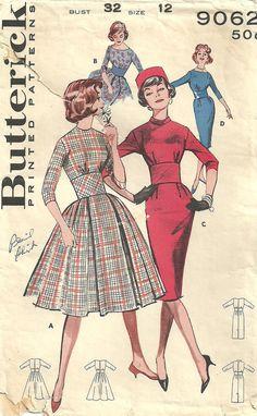 Butterick 9062 Vintage 50s Sewing Pattern Dress by studioGpatterns, $14.50