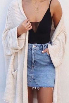 This spring, pair a denim skirt with a bodysuit and a cardigan for a cute yet casual look. Let Daily Dress Me help you find the perfect outfit for whatever the weather! dailydressme.com/
