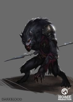 Darkblood - Werewolf Homunculus, Damien Sim on ArtStation at https://www.artstation.com/artwork/darkblood-werewolf-homunculus