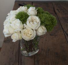 big white polo roses & living moss.