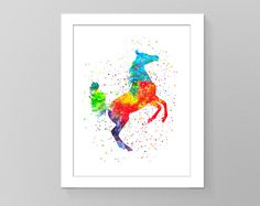 Arabian horse watercolor printable art. Nursery room decor, horse wall art, watercolor wall decor, kids room decor, birthday gift print by GecleeArtStudio on Etsy