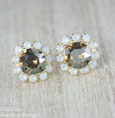 Cognac white opal earrings,crystal earringsl by Endora Jewellery $30.50