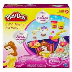 Play Doh Belle's Magical Tea Party Playset by Hasbro. $17.00. Non-toxic. Contains Wheat. Two cans of Play-Doh. Teapot presser, stamp, plastic knife, plate, playmat. You can make delicious-looking pretend tea party treats fit for a princess with the Belle's Magical Tea Party Set! Use the 2 different colors of PLAY-DOH modeling compound to make PLAY-DOH cookies, pretend tea, and other fun creations for the best tea party ever. Bring out your inner hostess and your inner pri...
