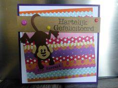 @ Hartelijk gefeliciteerd proficiat hip hip hurray aap zelfgemaakte kaart