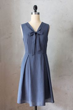 MADELINE MARINE - Dusty navy blue scarf neck tie dress// vintage inspired // pleated skirt // bridesmaid dress // holiday // mod / cocktail by FleetCollection on Etsy https://www.etsy.com/listing/165099184/madeline-marine-dusty-navy-blue-scarf