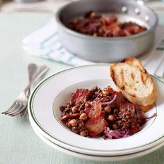 Lentils are a true storecupboard staple. Put them to hearty use in this delicious lentil and bacon stew recipe. Ram Recipe, Lentil Recipes, Bacon Recipes, Sweet Recipes, Vegetarian Recipes, Lentils And Sausage, Delicious Magazine Recipes, Savory Herb, Chickpea Stew