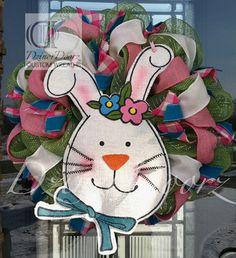 Spring Bunny deco mesh wreath by DzinerDoorz on Etsy, $105.00