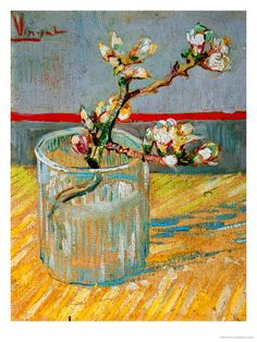 Blossoming Almond Branch in a Glass, c.1888 Giclée-tryk