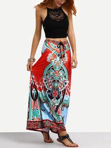 Tribal Print Tassel Tied Waist Maxi Skirt