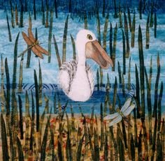 Pelican By Caroline Sharkey www.textileartworkshopsonline.com
