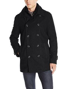 efb9b8156ccde Marc New York by Andrew Marc Men s Kerr Wool Pea Coat with Micro Suede Bib