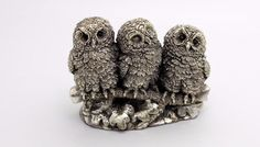 Rare Vintage Country Artists Sterling SIlver Owl Family Figurine 1993