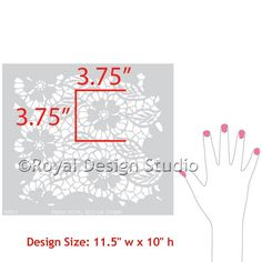 Large Allover Lace Stencil Fleur de Lace Hand Image - Royal Design Studio Stencils
