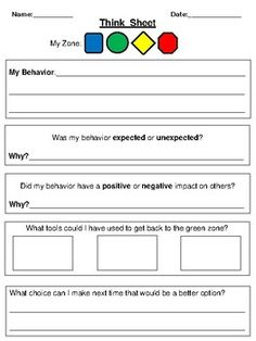 This think sheet is based on The Zones of Regulation Program that helps teach students about self-regulation. Social Skills Lessons, Social Skills Activities, Teaching Social Skills, Counseling Activities, Social Emotional Learning, Coping Skills, Therapy Activities, Articulation Activities, Teaching Strategies