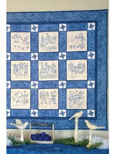 "Make a quilt that is ""snow"" much fun! Stitch a 9-block quilt that will have you enjoying the wintry weather more than you could have imagined! Choose hand embroidery or machine embroidery, your favorite embroidery thread (red, blue, black, etc.), some complementary fabric, and get to work creating a charming quilt that will last a lifetime! Pattern includes complete instructions, color photos and materials lists. A 5"" x 7"" hoop and an 8"" x 8"" hoop are needed for the hand embroidery versions…"
