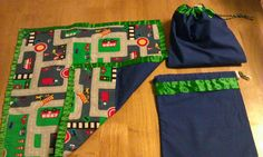 Car roll mats and bag I made for my boys