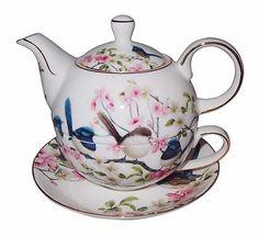 """Blue Wren"" Tea for One- Teapot & Cup & Saucer - Boxed - Australian Bird Series Tea For One, My Cup Of Tea, Royal Tea, Cream Tea, Tea Pot Set, Teapots And Cups, Blue China, Coffee Set, Tea Service"