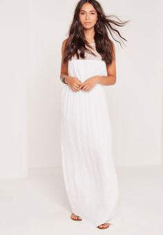 Missguided - Cheesecloth Embroidered Maxi Dress White