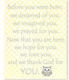 Before You Were Born Poem Art Print Owl Nursery Decor Baby Room Art Woodland Nursery Decor Baby Room Poem Gender Neutral Baby Boy or Girl by SweetPeaNurseryArt on Etsy