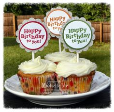 Simple Birthday toppers for cupcakes.