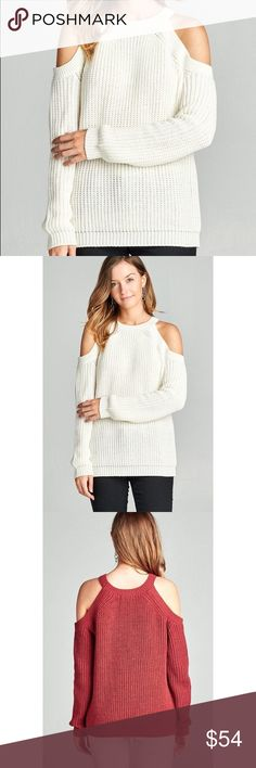 🆕 Cold Shoulder Knit Sweater - Ivory So comfy & perfect for fall and winter 😍 65% acrylic 35% Polyester. No trades. Last pic is to show the back. Kyoot Klothing Sweaters