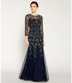 Adrianna Papell Beaded Illusion Sleeve A-Line Gown Beautiful Evening Gowns, Formal Evening Dresses, Elegant Dresses, Black Lace Bridesmaid Dress, Black Wedding Dresses, Wedding Outfits, Dress Brokat Muslim, Mother Of The Bride Dresses Long, Mob Dresses