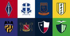 Football as Football: 32 NFL logos reinterpreted as international soccer badges.