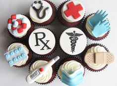 Cake Wrecks - Home - Sunday Sweets: At Your Service. Need to remember these for when Zoe graduates! Nurse Cupcakes, Themed Cupcakes, Cupcake Cookies, Party Cupcakes, Yummy Cupcakes, Graduation Cupcakes, Velvet Cupcakes, Cupcake Toppers, School Cupcakes