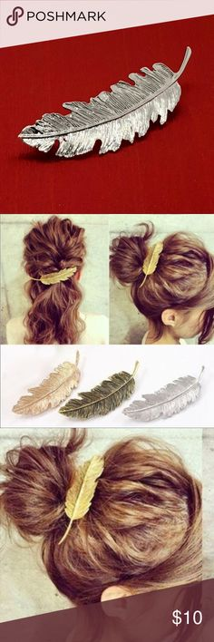 Silver tone Barrette Silver tone Barrette with a feathery leaf like design.  Looks beautiful and can be worn with several different hairstyles.   • Length is 4 inches • Color is Silver Accessories Hair Accessories