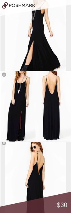 NASTY GAL low back maxi This dress is made of a soft stretchy material & has a slit up the left front side. The bust is lined. Straps are not adjustable. In great condition. Nasty Gal Dresses Maxi