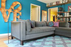 Retro Flamingo Colors Brighten a Vintage Spanish Style Home - eclectic - Living Room - Madison Modern Home Room Colors, Wall Colors, House Colors, Paint Colors, Shabby Chic Bedrooms, Shabby Chic Decor, Eclectic Living Room, Living Spaces, Living Rooms