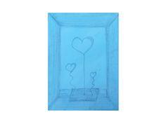 """Moderne Kunst """"JanuarKristall"""" Heart in a box Acrylmalerei auf leinwand Keilrahmen. Herz Modern Art blue heart von Susannes Kreativ-Lädchen auf DaWanda.com"""