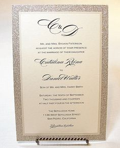 UMA4 Glitter Wedding Invitations by LavenderPaperie1 on Etsy, $618.75