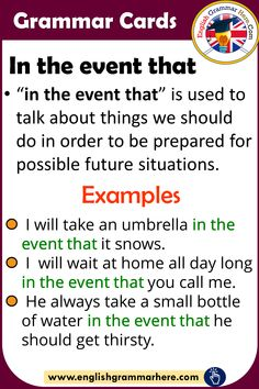 Grammar Cards – Using In The Event That in English - English Grammar Here
