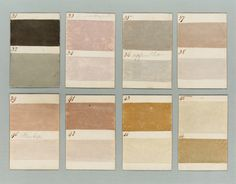 Hp - Very lovely and muted palette. Barnbarroch Colours - paint chips from 1807 Colour Schemes, Color Trends, Color Combos, Colour Palettes, Textures Patterns, Color Patterns, Wabi Sabi, Tadelakt, Color Studies