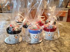 Teacher gifts for Christmas! Small topiary pots painted with acrylic paint, stuffed with candy!