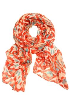 Coral Teal & White Boho Scarf $25