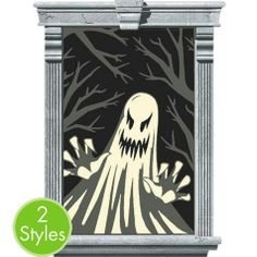 Ghost Window Silhouettes - Party City Decorate for your annual spook fest with our Ghost Window Silhouettes! This wild window decoration features scary ghosts with dead tree braches in the background. Light shines through Ghost Window Silhouettes, creating an eerie effect. Ghost Window Silhouettes are made of plastic and measure 33 1/2in x 65in and will fit an average sized window. Package includes 2 window decorations.