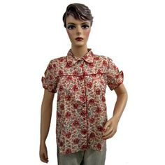 Womens Boho Designer White Red Floral Printed Blouse Tunic Top Small Size (Apparel)
