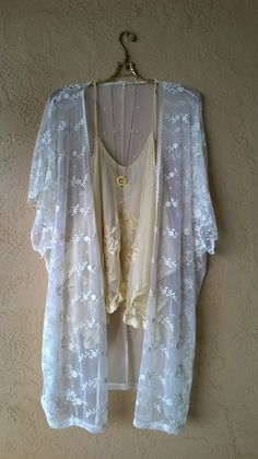 Anthropologie LUX Romantic sheer lace kimono for layering for Fall with boots