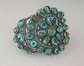 Estate Sale Navajo Sterling Turquoise Cluster Bracelet Signed Angela Lee