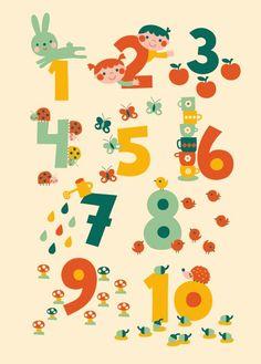 BORA illustraties BORA Poster (50 x 70 cm) 123 tellen