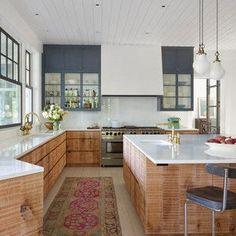 Rustic Kitchen Decor, Diy Kitchen, Kitchen Ideas, Kitchen Interior, Cocina Diy, Blue Kitchen Cabinets, Oak Cabinets, Countertop Options, Design Your Kitchen